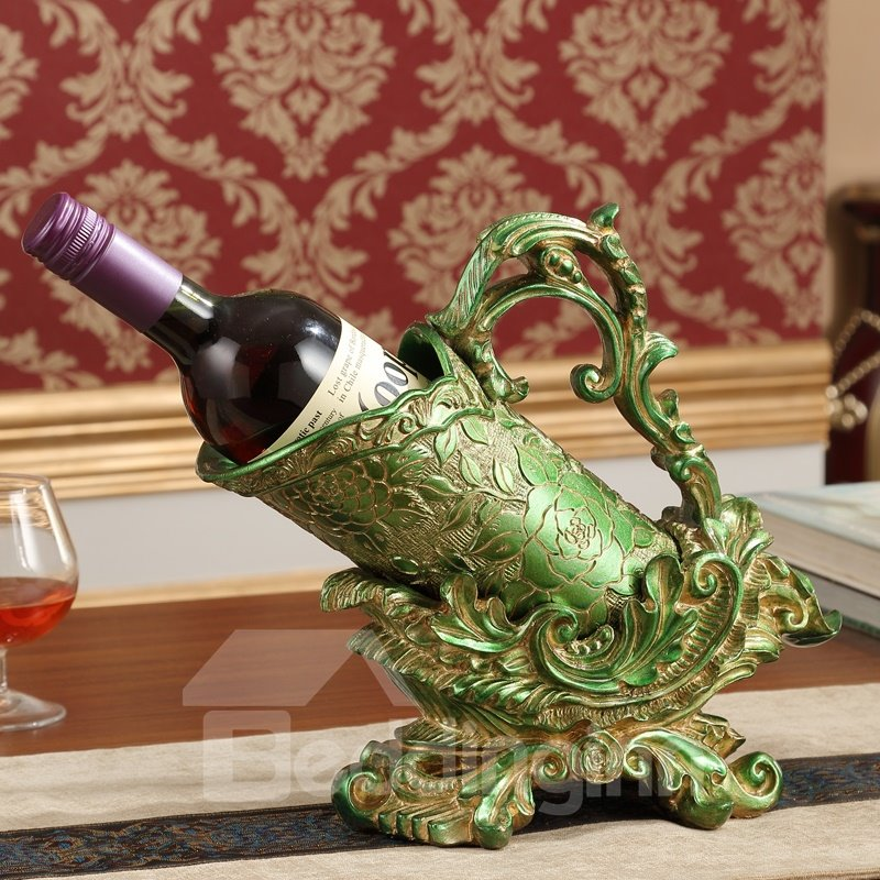 Modern Fashion Resin European Style Flower Pattern Design Wine Rack
