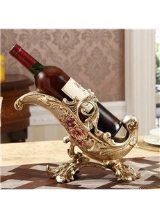 Elegant European Style Flower Pattern Home Decorative Wine Rack