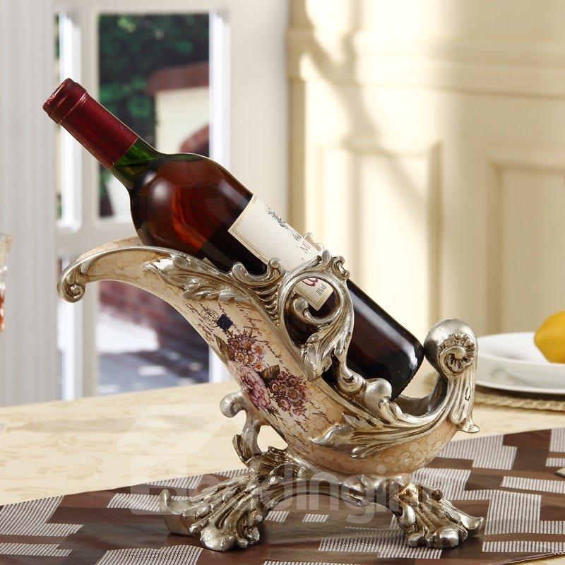 Elegant European Style Flower Pattern Home Decorative Wine Rack