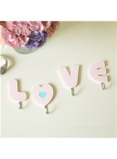 Sweet Love Pattern Acrylic 4-Pieces Solid Glue Bathroom Hooks