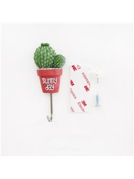 11lb/5kg(Max) Cute Cactus Design Bathroom Hooks