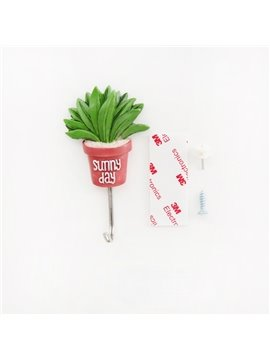 11lb/5kg(Max) Cute Green Plant Design Bathroom Hooks