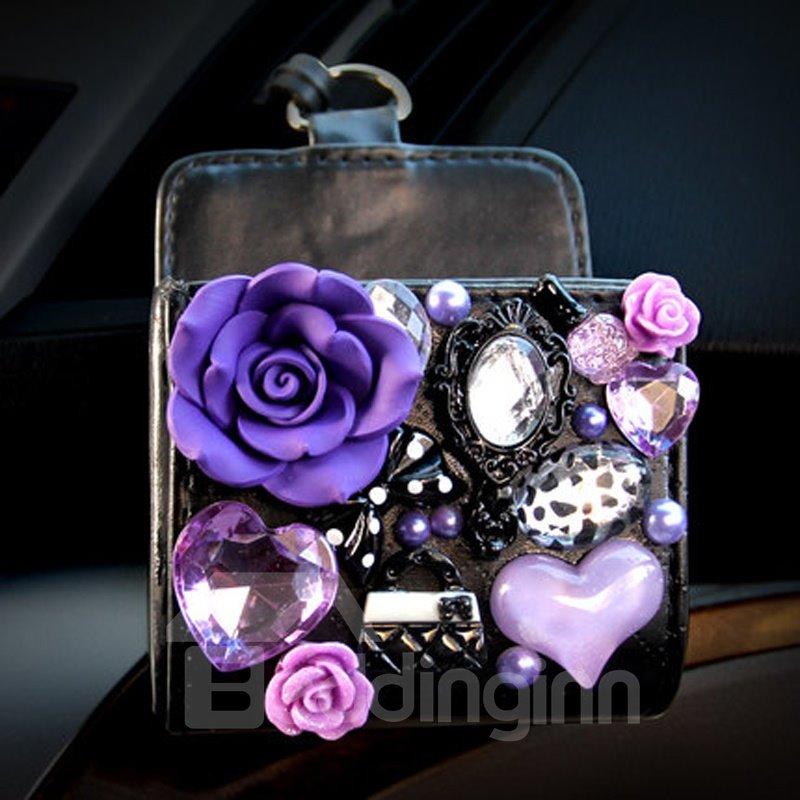 Super Charming Purple Small Floral Model Design Popular Car Outlet Storage Box Organizer