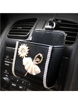 Textured High-Grade Luxury Beautiful Ballet Girl Pattern Car Outlet Organizer