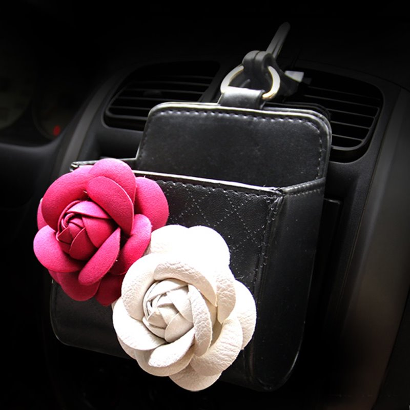 Textured High-Grade Luxury Beautiful Two Flowers Decorative Car Outlet Organizer