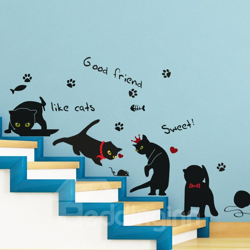 Black Simple Style Lovely Cats Pattern Decorative Wall Stickers