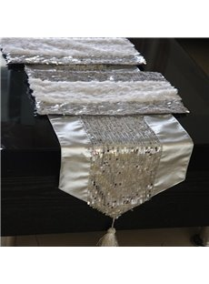 Modern Fashion Silver Paillette Home Decorative Table Runner