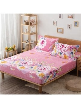 Pretty Lovely Floral Print Pink Flannel Blanket