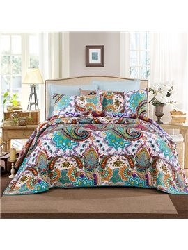 European Style Paisley Print 3-Piece Cotton Bed in a Bag