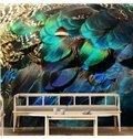 Vivid Modern Design Peacock Feather Pattern Waterproof 3D Wall Murals