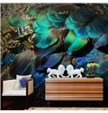 Vivid Modern Design Peacock Feather Pattern Waterproof 3D Wall Murals