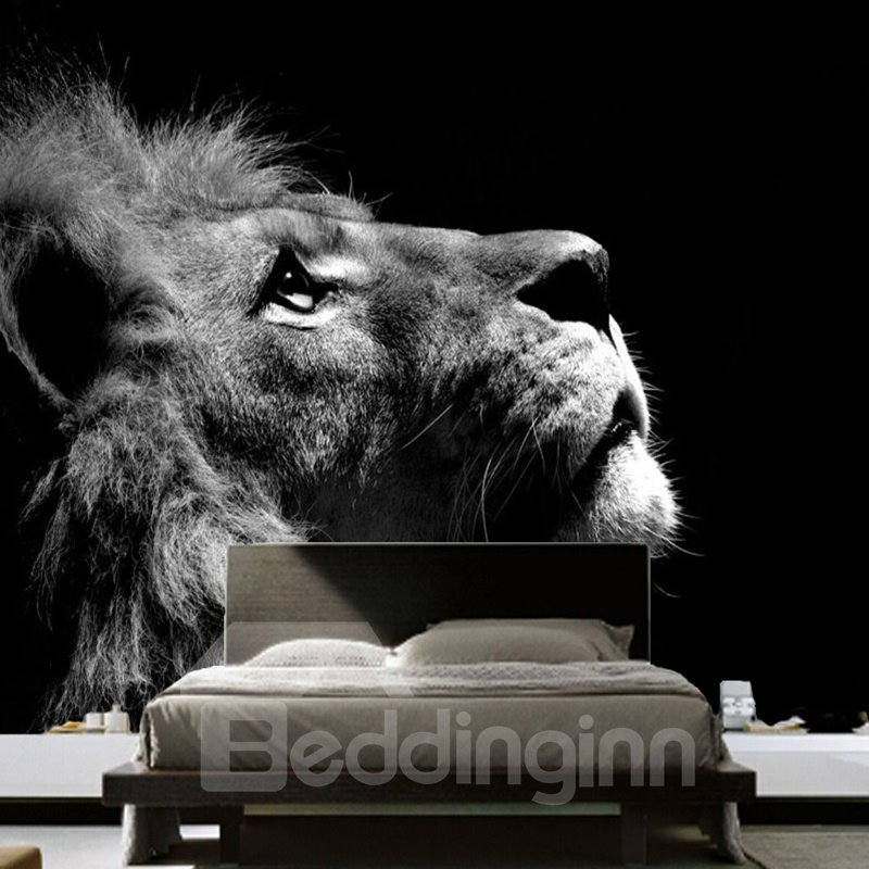 Grey Lion Head Printed PVC Waterproof and Durable Black 3D Wall Murals