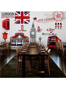 Modern British Style London Scenery Pattern Waterproof 3D Wall Murals