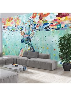 Fabulous Colorful Sika Deer Pattern Decorative Waterproof 3D Wall Murals