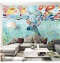 Fabulous Colorful Sika Deer Pattern PVC Waterproof Durable 3D Wall Murals