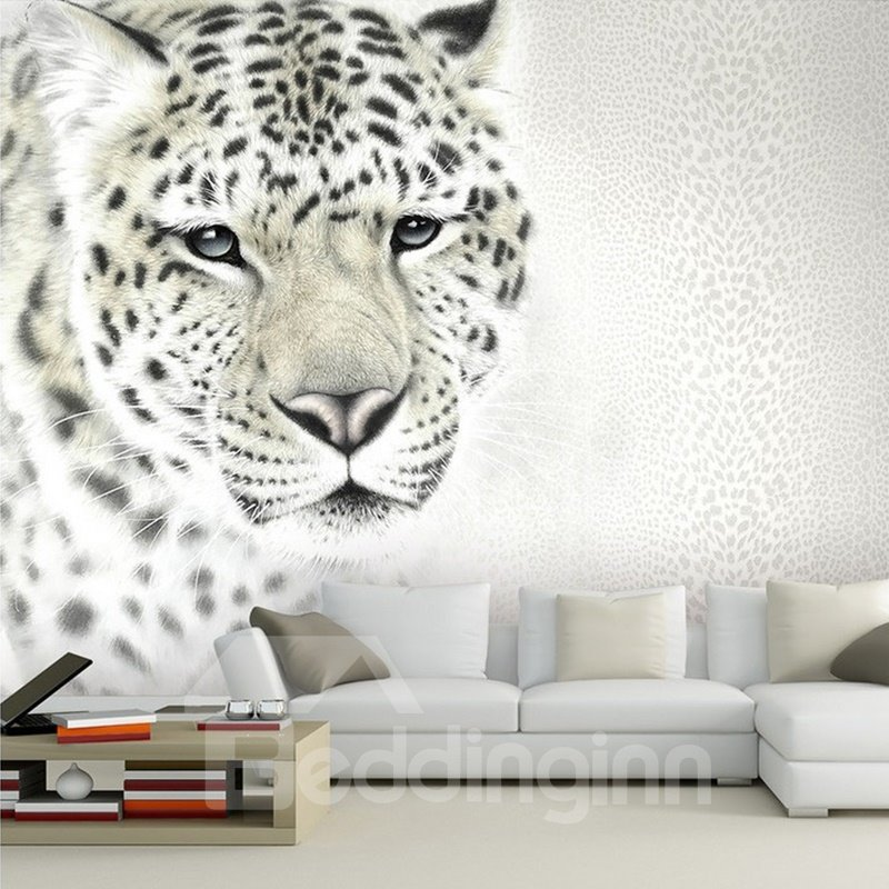 White Simple Style Leopard Pattern Design Waterproof Splicing 3D Wall Murals