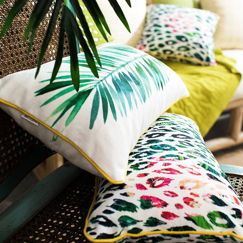 Chic Pastoral Style Leaves Print Throw Pillow