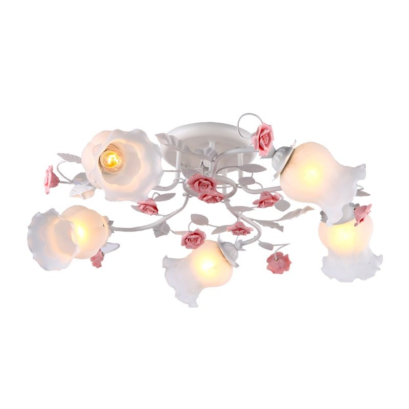 American Country Style Pink Flower Decoration White 5 Lights Flush Mount