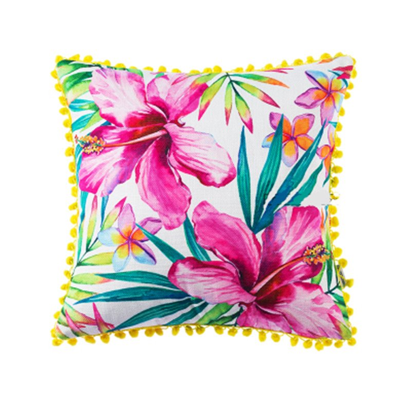 Graceful Pink Lily Print Fringe Throw Pillow
