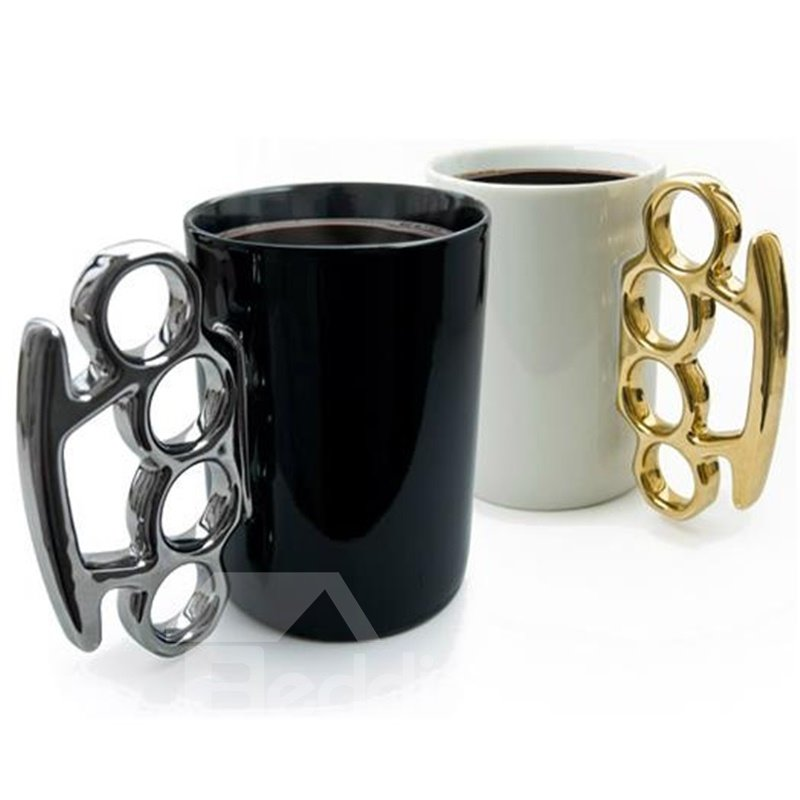 White and Black Unique Design Ceramic Fist Decoration Coffee Mugs