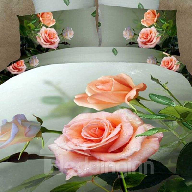Dewy Pink Rose 3D Printed Cotton 2-Piece Pillow Cases