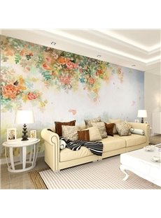 Fresh Beautiful Flowers Pattern Home Decorative Waterproof 3D Wall Murals