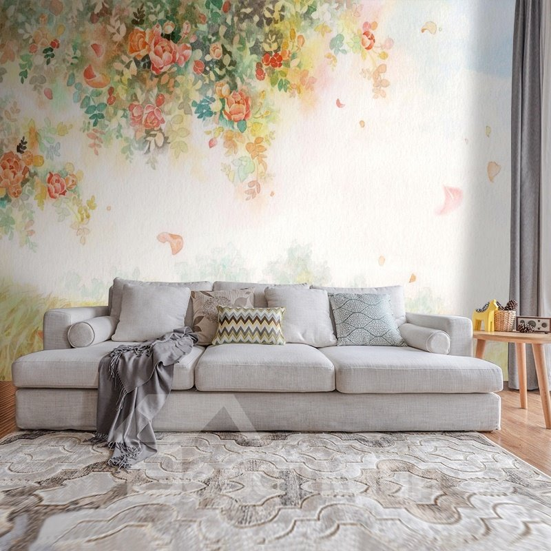 Fresh Beautiful Flowers Pattern Home Decorative Waterproof 3D Wall Murals
