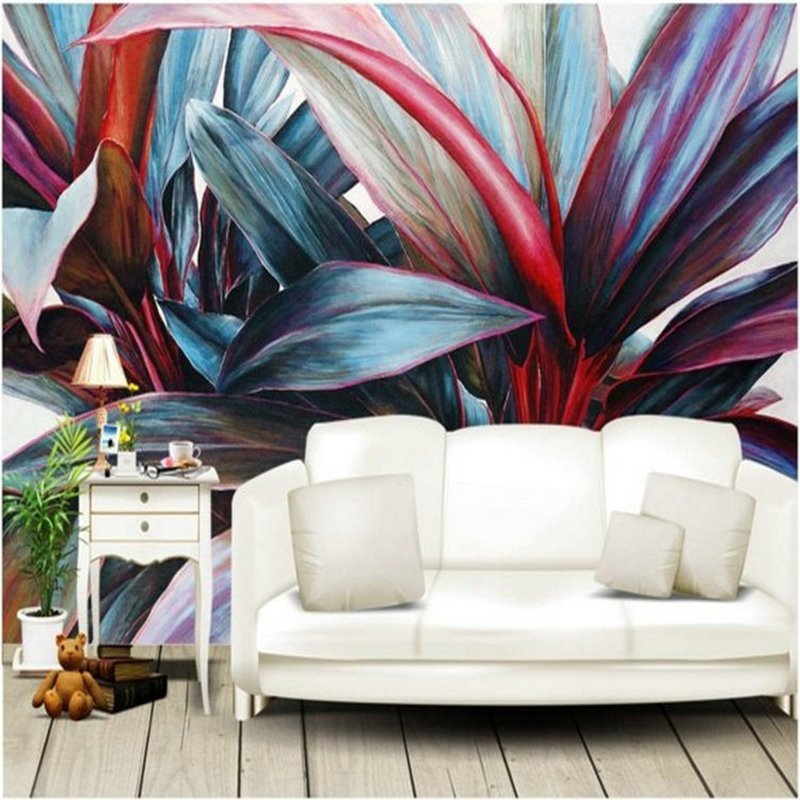 Unique Colorful Plants Pattern Home Decorative Waterproof 3D Wall Murals
