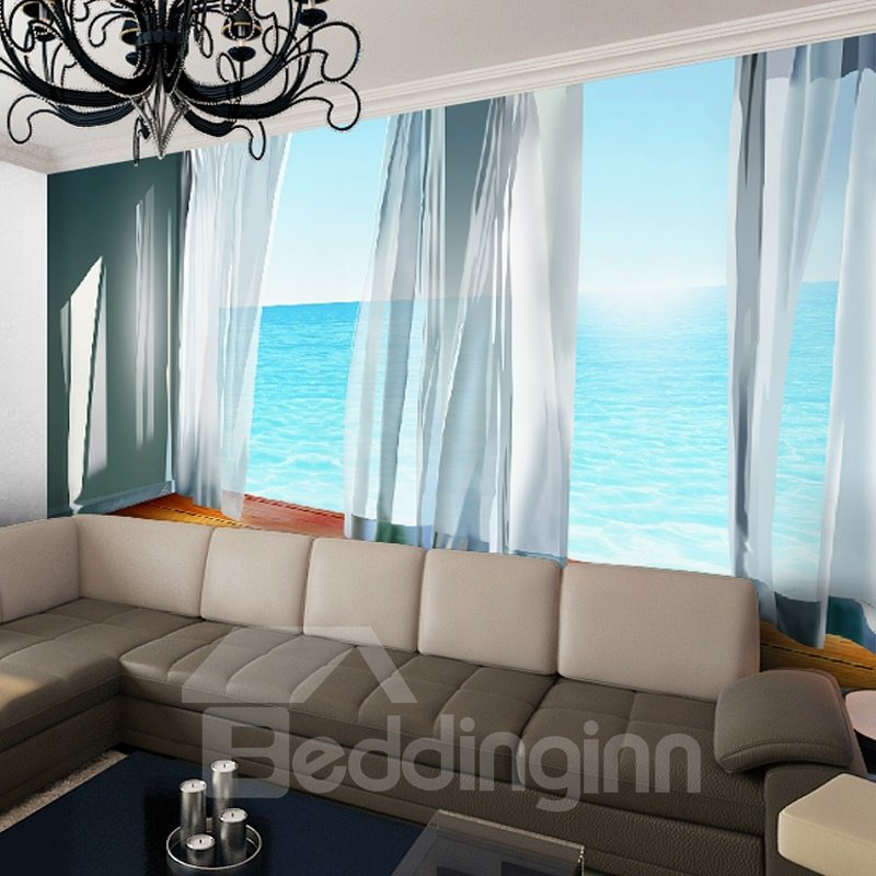 top lifelike natural curtain and seaside scenery pattern waterproof d wall murals with home wallpaper murals