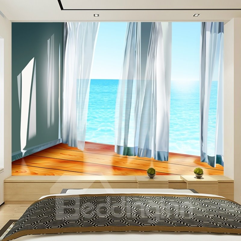 Blue Sea and White Curtain Pattern PVC Waterproof and Durable 3D Wall Murals