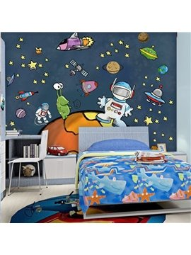 Simple Style Cartoon Astronaut in Space Design Waterproof 3D Wall Murals