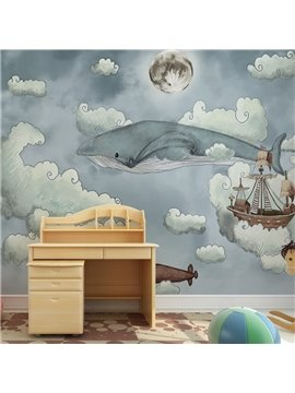 Amazing Cartoon Dolphin Pattern Nursery Decoration Waterproof 3D Wall Murals
