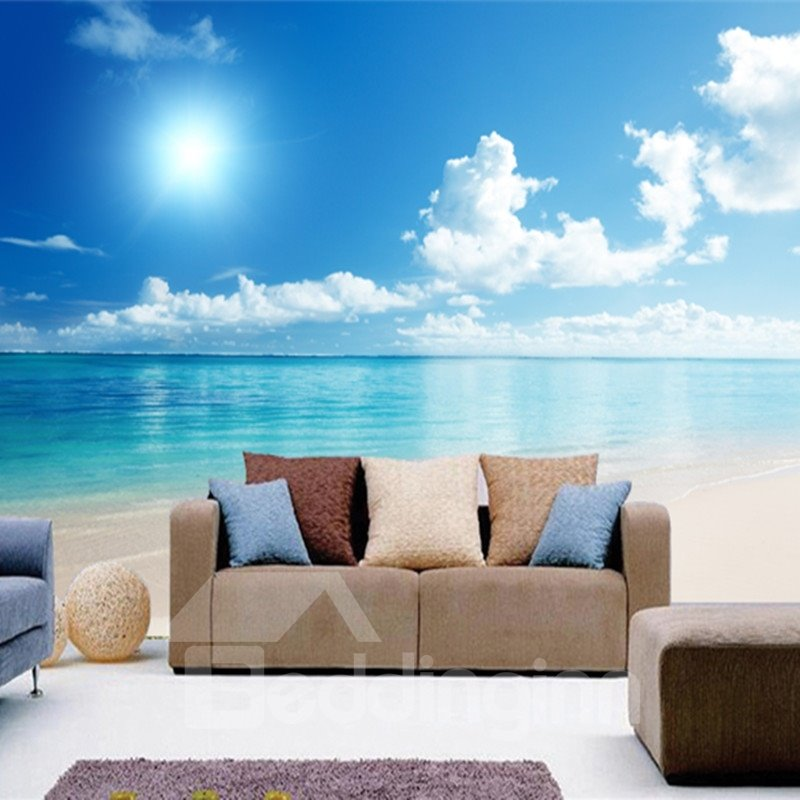 Blue sky and sea scenery pattern pvc waterproof and for Images of 3d wallpaper for bedroom