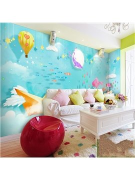 Cute Cartoon Blue Fishes in the Sea Pattern Children Room Decoration Waterproof 3D Wall Murals