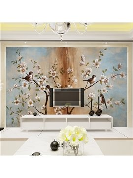 Leisurely Birds Standing on the Branch of Flowers Pattern Waterproof 3D Wall Murals