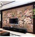Classic Lotus Flowers Pattern Home Decorative Waterproof 3D Wall Murals