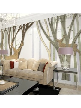 Simple Style Deers in Forest Pattern Waterproof 3D Wall Murals