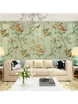 Green Country Style Flowers Pattern Waterproof Splicing 3D Wall Murals