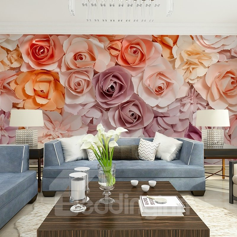 Gorgeous Romantic Roses Pattern Design Waterproof Splicing 3D Wall Murals