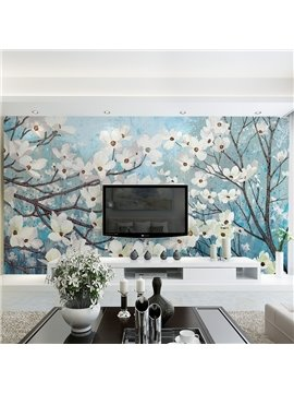 White Beautiful Plum Blossom Pattern Waterproof 3D Wall Murals