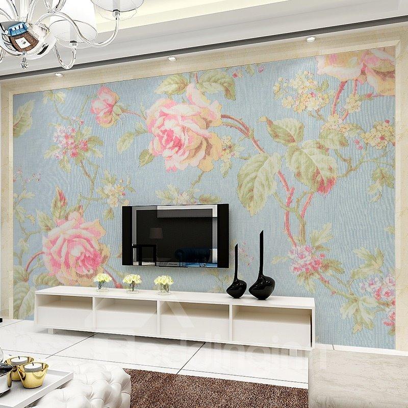 Elegant Flowers Pattern Design Waterproof Splicing 3D Wall Murals