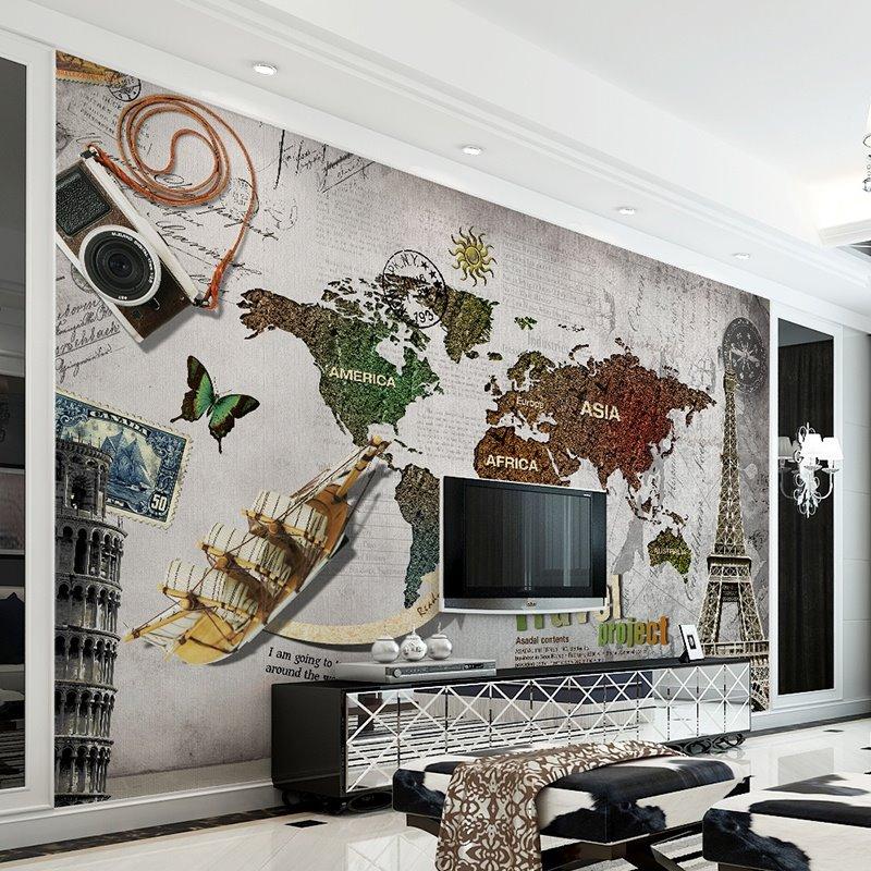 Wonderful World Map Pattern Design Decorative Waterproof 3D Wall Murals