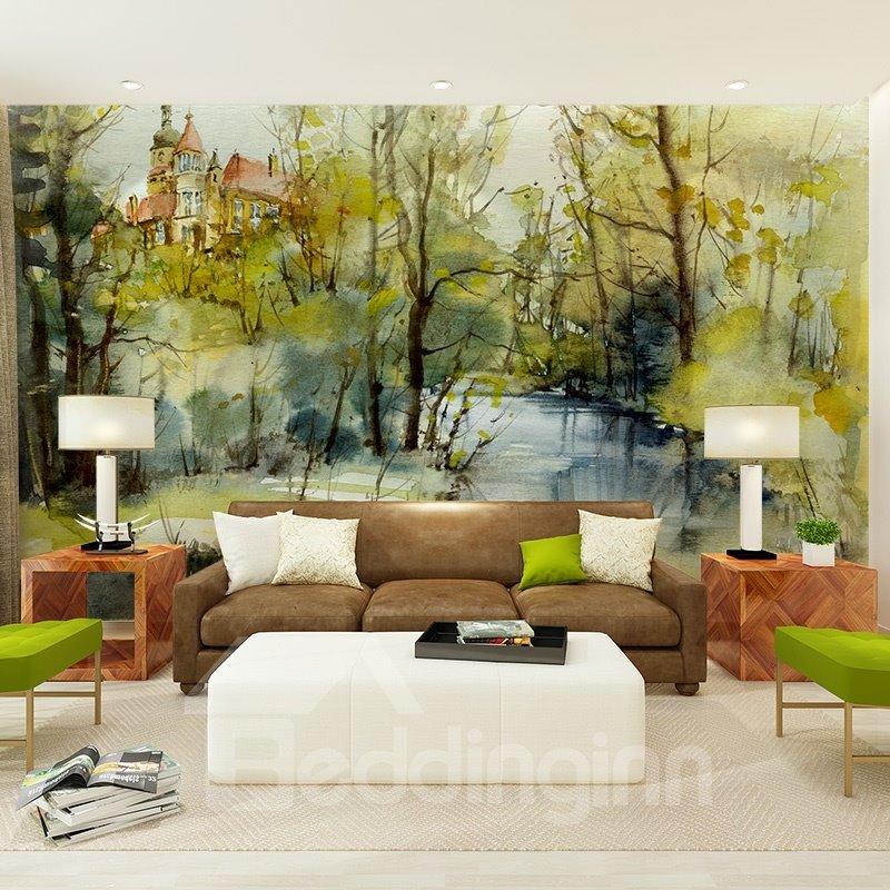 Natural Design River Scenery Pattern Decorative Waterproof 3D Wall Murals