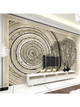 Simple Style Tree Ring Shape Clock Pattern Waterproof 3D Wall Murals