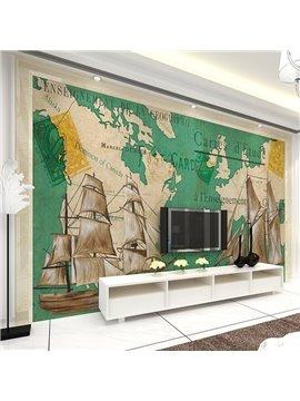 Modern Design Galleon and Mediterranean Map Pattern Waterproof 3D Wall Murals