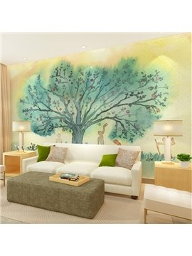 Natural Watercolor Tree Pattern Simple Style Watercolor 3D Wall Murals