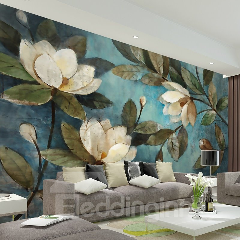 White Magnolia Flowers Pattern Home Decorative Waterproof 3D Wall Murals