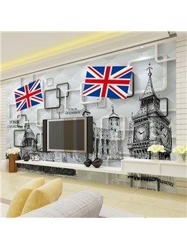 British Style London Scenery Pattern Waterproof Splicing 3D Wall Murals