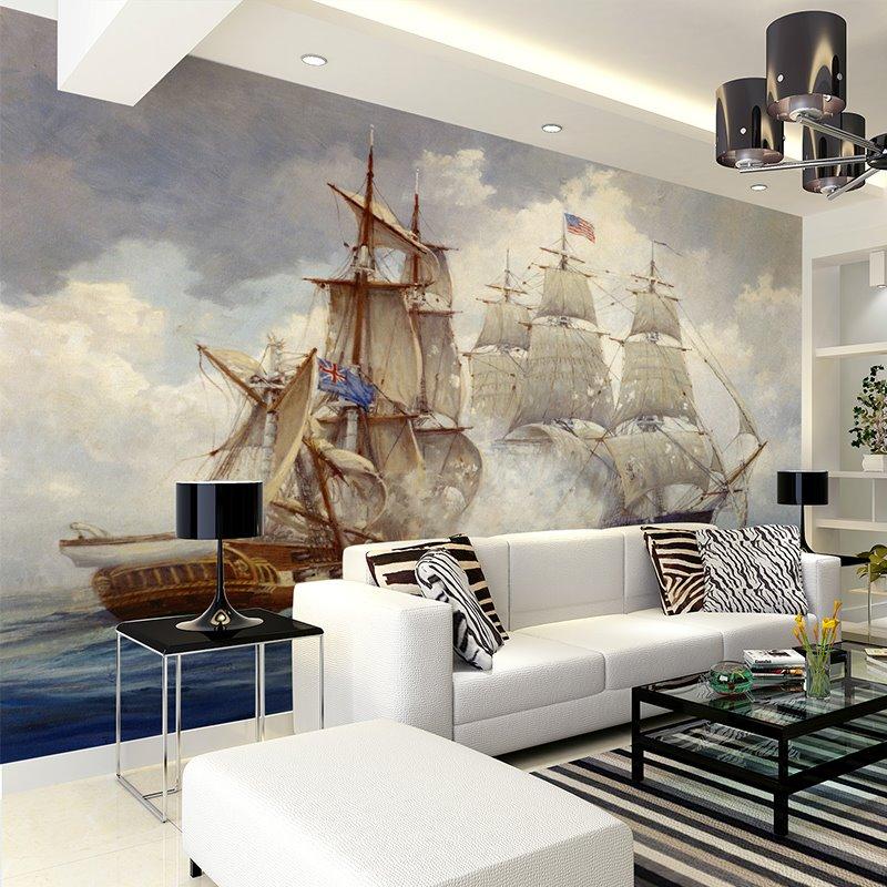 Fabulous European Style Galleon Pattern Decorative Waterproof 3D Wall Murals