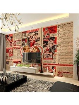 Romantic Red Clover Compound Newspaper Pattern Design Waterproof 3D Wall Murals